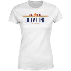 T-Shirt Femme Retour vers le Futur - Plaque Immatriculation Outatime - Blanc
