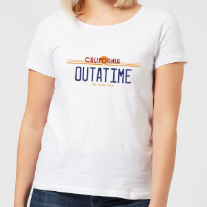 Back to the Future Outatime Plate Dames T-shirt - Wit