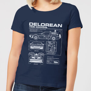 Back to the Future DeLorean Schematic Dames T-shirt - Navy