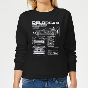 Back To The Future DeLorean Schematic Women's Sweatshirt - Black