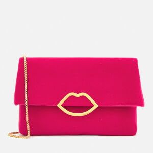 Lulu Guinness Women's Velvet Half Covered Lip Issy Bag - Hot Pink