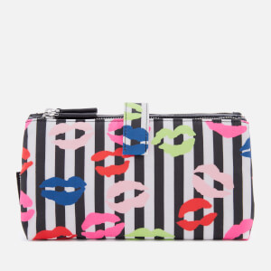 f93aea5c7b1f5 Lulu Guinness Women s Stripe Lip Blot Double Make Up Bag - Black Multi