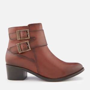 Barbour International Women's Inglewood Leather Buckle Heeled Ankle Boots - Tan