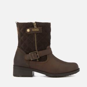 Barbour Women's Sienna Leather Quilted Biker Boots - Dark Brown