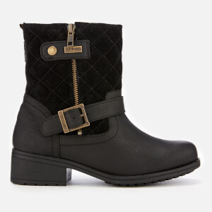 Barbour Women's Sienna Leather Quilted Biker Boots - Black