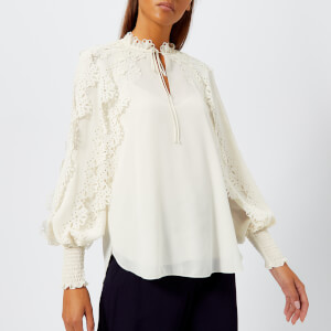 See by Chloé Women's Tie Neck Blouse - Whisper White