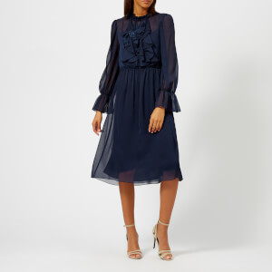 See By Chloé Women's Sheer Ruffle Midi Dress - Navy
