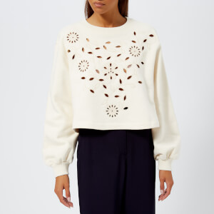 See by Chloé Women's Laser Cut Floral Blouse - Natural White