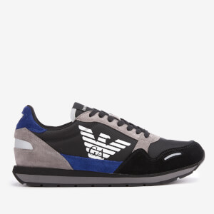 Emporio Armani Men's Runner Style Trainers - Black/Blue/Grey