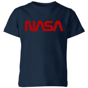 NASA Worm Rot Logotype Kinder T-Shirt - Navy Blau