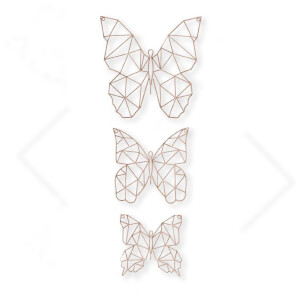 Art for the Home Rose Gold Wire Butterflies Wall Art (Set of 3)