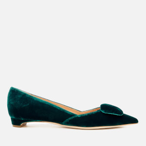 Rupert Sanderson Women's New Aga Pebble Velvet Pointed Flats - Jupiter