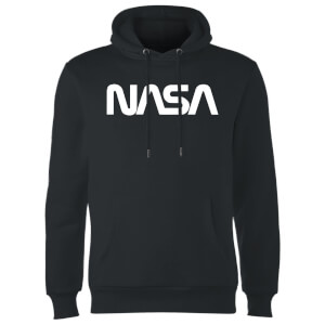 NASA Worm White Logotype Hoodie - Black