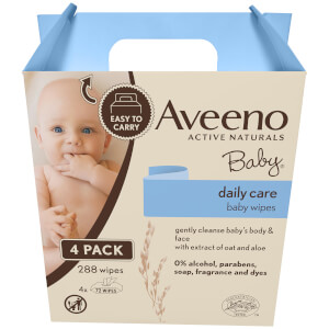 Aveeno Baby Daily Care Baby Wipes (4 x 72 Wipes)