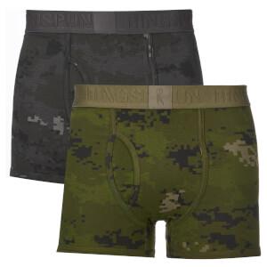 Ringspun Men's 2 Pack Camo Boxers - Black/Olive