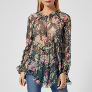 Zimmermann Women's Iris Ruffle Top - Charcoal Floral