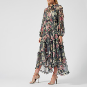 Zimmermann Women's Iris Ruffle Resort Dress - Charcoal Floral