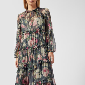 Zimmermann Women's Iris Ruffle Resort Dress - Charcoal Floral: Image 3