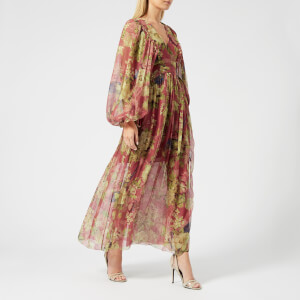 Zimmermann Women's Melody Wrap Long Dress - Burgundy Floral