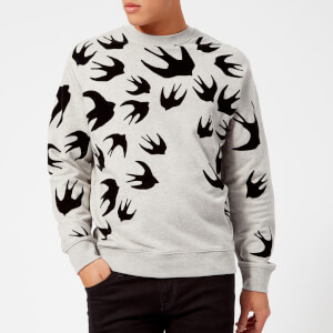 McQ Alexander McQueen Men's Swallow Swarm Flock Clean Crew Neck Sweatshirt - Mercury Melange