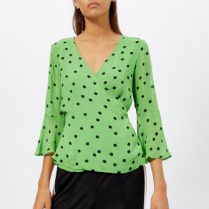 Ganni Women's Dainty Georgette Top - Classic Green