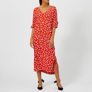 Ganni Women's Silvery Crepe Midi Dress - Big Apple Red