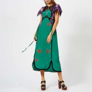 Coach 1941 Women's Lace Embroidered Dress - Emerald Green