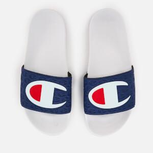 Champion Men's Logo Pool Slide Sandals - White/Navy