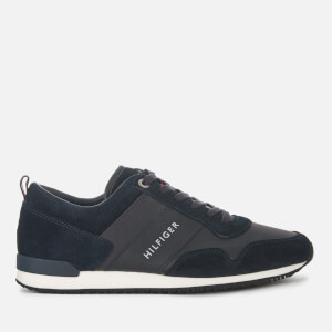 Tommy Hilfiger Men's Iconic Leather/Suede Mix Running Style Trainers - Midnight