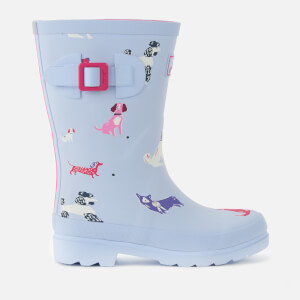 Joules Kids' Printed Wellies - Sky Blue Dotty Dogs