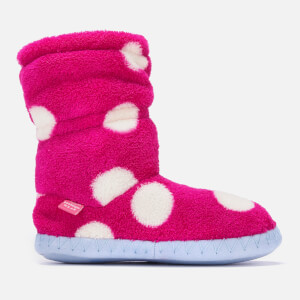 Joules Kids' Padabout Fleece Lined Slippersock - Raspberry Rose Spot