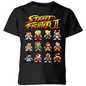 Street Fighter 2 Pixel Characters Kids' T-Shirt - Black