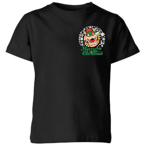 Nintendo Super Mario Bowser Merry Christmas Pocket Wreath Kid's Christmas T-Shirt - Black