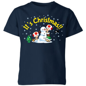 Nintendo Super Mario Toad Snowman Merry Christmas Kid's T-Shirt - Navy
