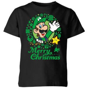 Nintendo Super Mario Luigi White Wreath Merry Christmas Kid's T-Shirt - Black