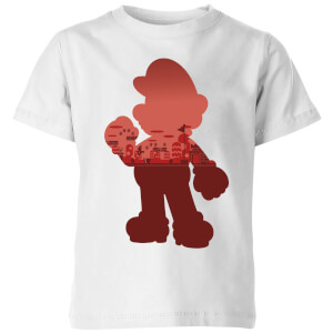 Nintendo Super Mario Mario Silhouette Kinder T-Shirt - Weiß