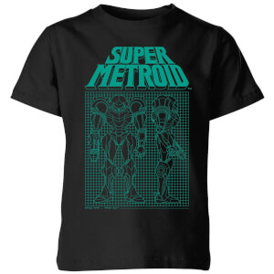 Nintendo Super Metroid Power Suit Blueprint Kid's T-Shirt - Black