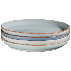 Denby Always Entertaining - Blues - 4 Piece Medium Coupe Plate Set