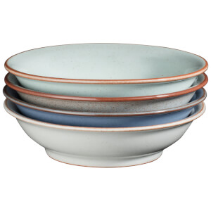 Denby Always Entertaining -Blues- 4 Piece Medium Shallow Bowl Set
