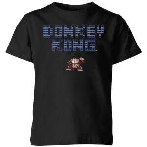T-Shirt Nintendo Donkey Kong Retro Logo - Nero - Bambini