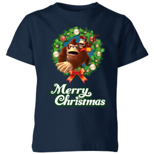 Nintendo Donkey Kong Wreath Merry Christmas Kid's T-Shirt - Navy