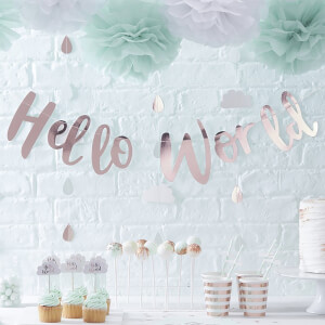 "Ginger Ray ""Hello World"" Bunting - Rose Gold"