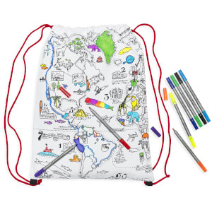 Doodle Colour and Learn World Map Drawstring Backpack