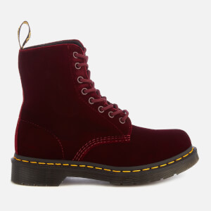 Dr. Martens Women's 1460 Velvet Pascal 8-Eye Boots - Cherry Red