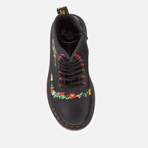 Dr. Martens Kids' 1460 J Pooch Flower T Lamper Leather Lace Up Boots - Black: Image 3