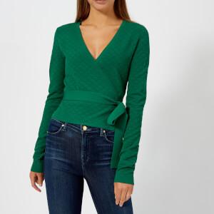 Diane von Furstenberg Women's Long Sleeve Wrap Sweater - Pine