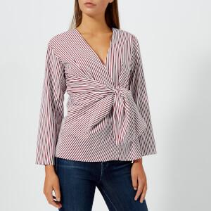 Diane von Furstenberg Women's Waist Tie Blouse - Oxblood/White