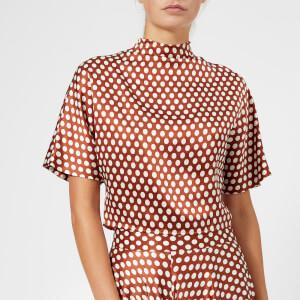 Diane von Furstenberg Women's Raglan High Neck Blouse - Baker Dot Small Sienna