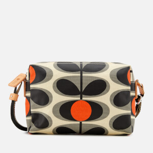 Orla Kiely Women's Canvas Flower Stem Print Small Cross Body Bag - Granite