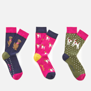 Joules Women's Brilliant Bamboo 3 Pack Socks Set - Dog